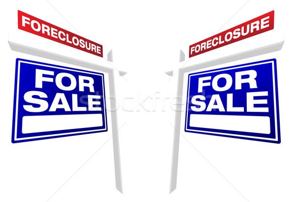 Pár zálogjog érvényesítése vásár ingatlan feliratok kék Stock fotó © feverpitch