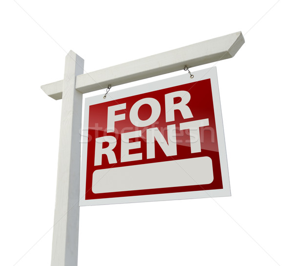 Right Facing For Rent Real Estate Sign on White Stock photo © feverpitch