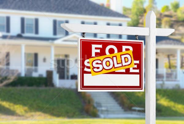 Stockfoto: Uitverkocht · verkoop · onroerend · teken · huis