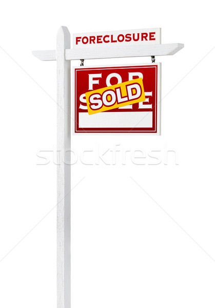 Right Facing Foreclosure Sold For Sale Real Estate Sign Isolated Stock photo © feverpitch