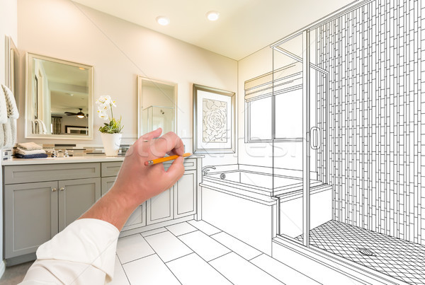Hand Drawing Custom Master Bathroom with Cross Section of Finish Stock photo © feverpitch