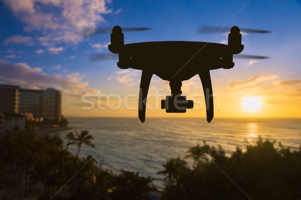 Drone Flying Above Waikiki Beach in Hawaii. Stock photo © feverpitch