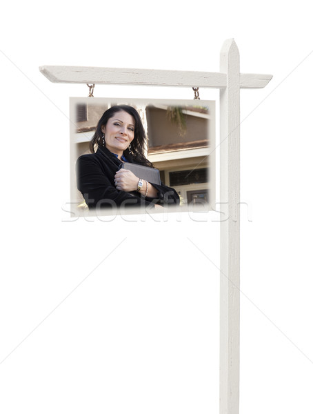 Stock photo: Real Estate Sign with Female Agent and House