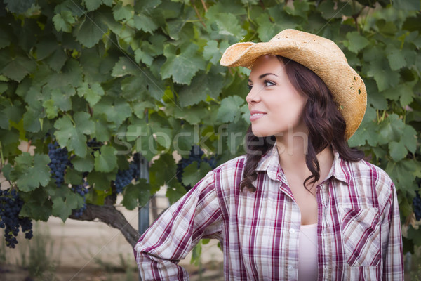 Stock photo: Young Adult Female Portrait Wearing Cowboy Hat in Vineyard