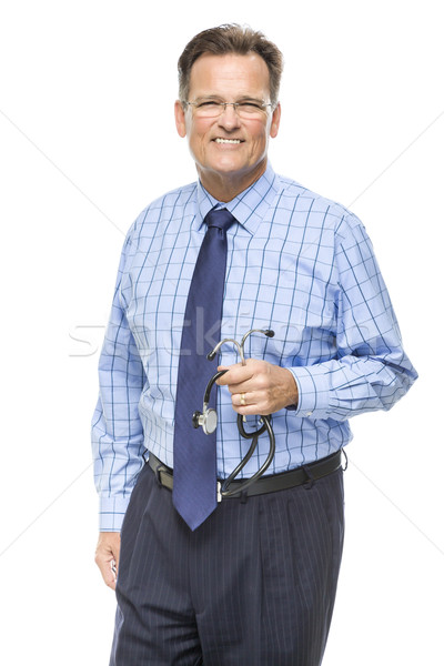 Handsome Smiling Male Doctor with Stethoscope on White Stock photo © feverpitch