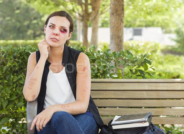 Lehangolt leharcolt fiatal nő pad szomorú ül Stock fotó © feverpitch