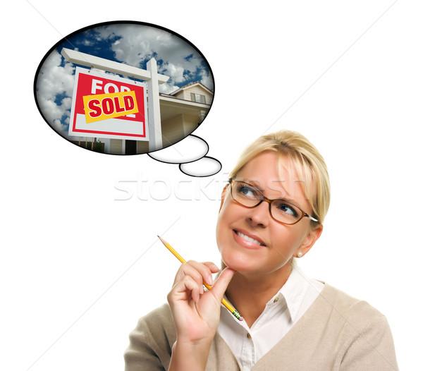 Stockfoto: Vrouw · dacht · bubbels · uitverkocht · onroerend · teken