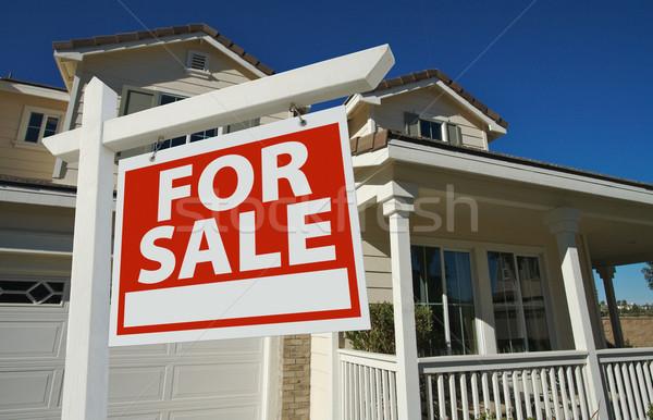 Otthon vásár felirat új otthon új ház égbolt Stock fotó © feverpitch