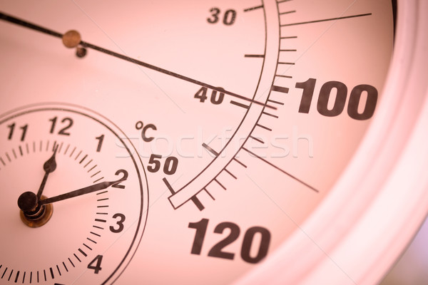 Colorized Round Thermometer Showing Over 100 Degrees Stock photo © feverpitch