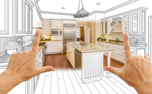 Handen gewoonte keuken ontwerp tekening vierkante Stockfoto © feverpitch