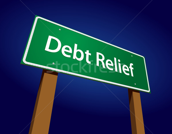 Debt Relief Green Road Sign Vector Illustration Stock photo © feverpitch