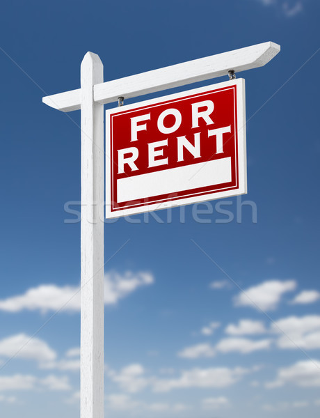 Richtig mieten Immobilien Zeichen blauer Himmel Stock foto © feverpitch