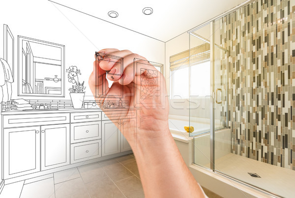 Hand Drawing Custom Master Bathroom with Photo Gradation Stock photo © feverpitch