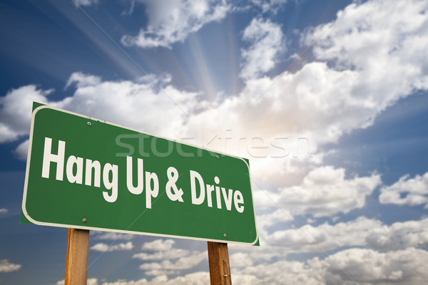 Hang Up and Drive Green Road Sign Stock photo © feverpitch