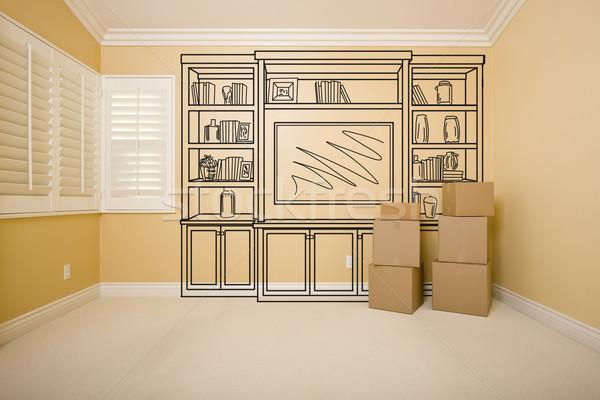 коробки пустой комнате шельфа дизайна рисунок стены Сток-фото © feverpitch