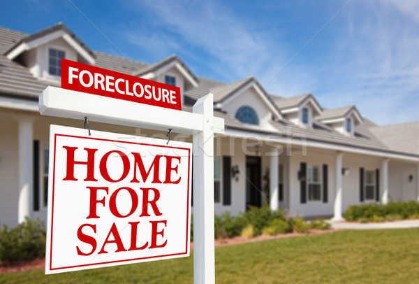 Foreclosure Home For Sale Real Estate Sign and House Stock photo © feverpitch