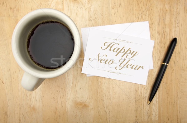 Happy new year note carte stylo café tasse de café Photo stock © feverpitch