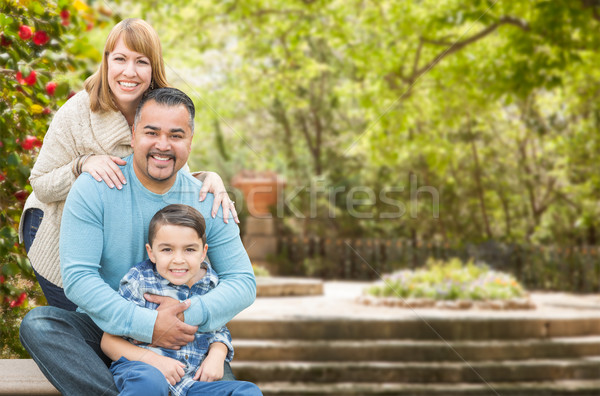 Mixed Race Hispanic and Caucasian Family Portrait at the Park Stock photo © feverpitch