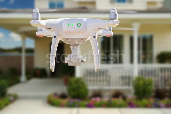 назад самолета Flying дома небе технологий Сток-фото © feverpitch
