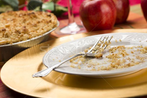 Tarte aux pommes vide plaque fourche pomme Photo stock © feverpitch