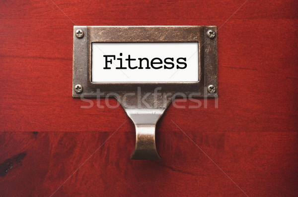 Lustrous Wooden Cabinet with Fitness File Label Stock photo © feverpitch