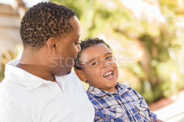 Happy Mixed Race Father and Son Talking Stock photo © feverpitch