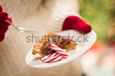 Woman Wearing Red Mittens Holding Plate of Pecan Pie, Peppermint Stock photo © feverpitch
