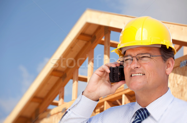 Contractor in Hardhat at Construction Site Stock photo © feverpitch