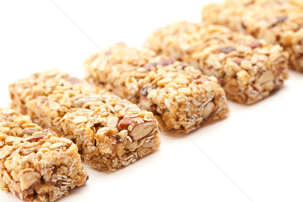 Row of Several Granola Bars Isolated on White Stock photo © feverpitch