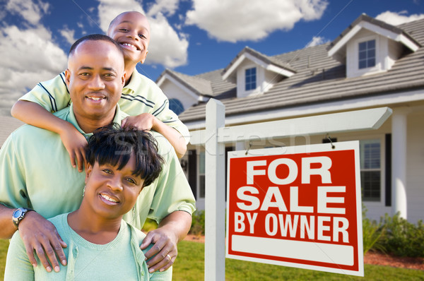 African American Family with For Sale By Owner Sign Stock photo © feverpitch