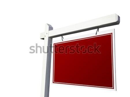 Photo stock: Rouge · immobilier · signe · blanche · isolé · succès