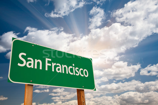 San Francisco Green Road Sign Over Clouds Stock photo © feverpitch