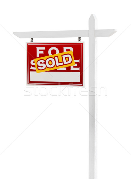 Left Facing Sold For Sale Real Estate Sign Isolated on a White B Stock photo © feverpitch