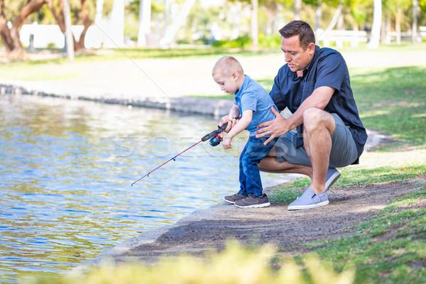 Stockfoto: Jonge · kaukasisch · vader · zoon · vissen · meer