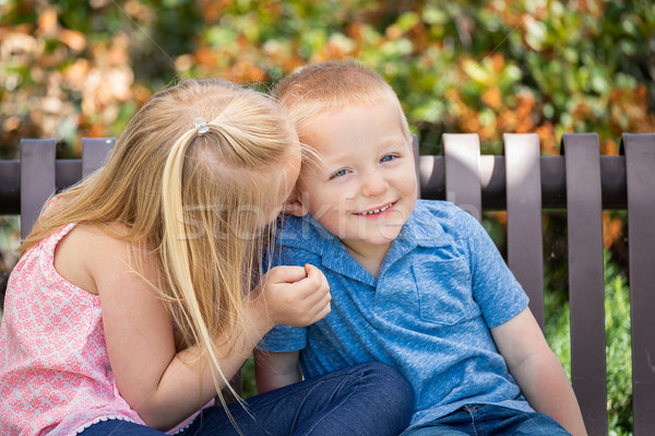 Young Sister and Brother Whispering Secrets On The Bench At The  Stock photo © feverpitch