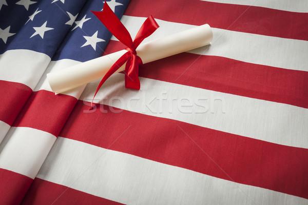 şerit diploma amerikan bayrağı bo Stok fotoğraf © feverpitch