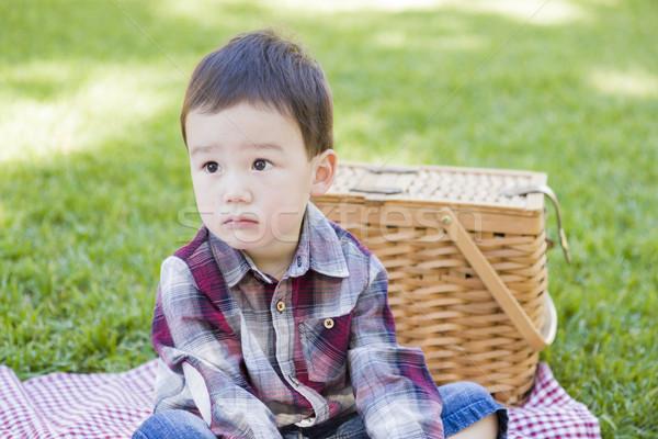 Genç erkek oturma park piknik sepeti Stok fotoğraf © feverpitch