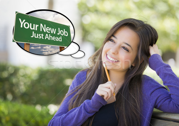 Stock photo: Young Woman with Your New Job Sign Thought Bubble