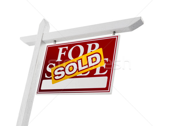 Vermelho vendido venda imóveis assinar branco Foto stock © feverpitch