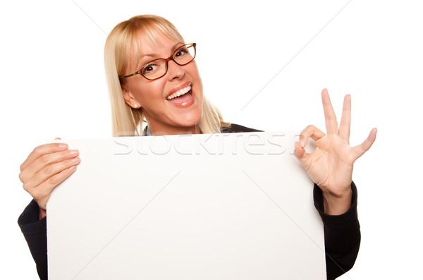 Zdjęcia stock: Atrakcyjny · w · porządku · gest · biały