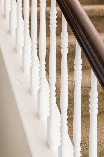 Abstract of Stair Railing and Carpeted Steps in House Stock photo © feverpitch