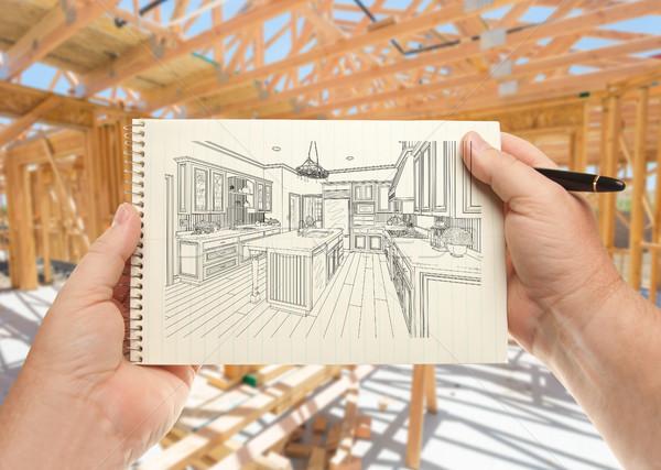Mannelijke handen pen papier gewoonte Stockfoto © feverpitch