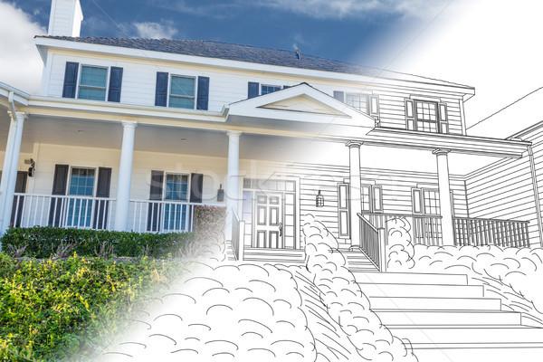 Mooie gewoonte huis tekening foto combinatie Stockfoto © feverpitch