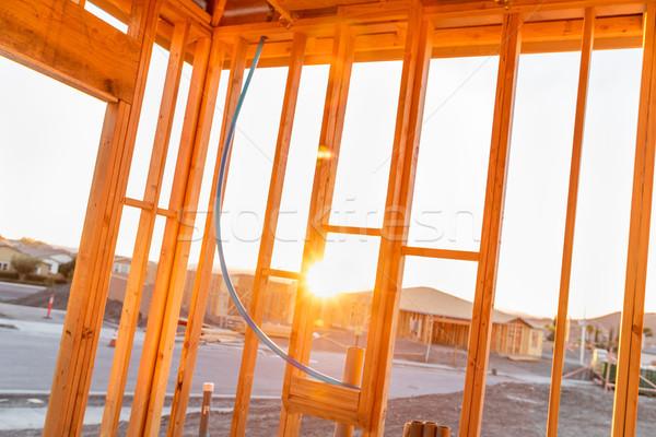 Görmek gün batımı içinde yeni ev ev Stok fotoğraf © feverpitch