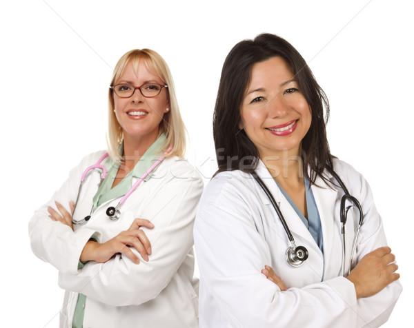 Foto stock: Dois · feminino · médicos · branco · isolado