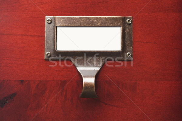 Lustrous Wooden Cabinet with Blank File Label Stock photo © feverpitch