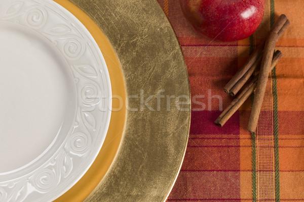 Absztrakt asztal alma fahéj tányér ősz Stock fotó © feverpitch