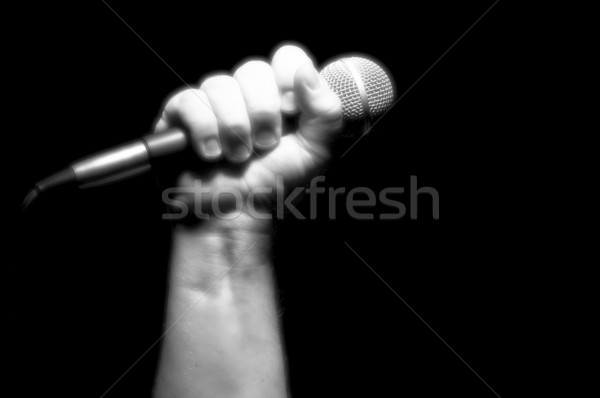 Gray Scale Microphone in Fist Stock photo © feverpitch