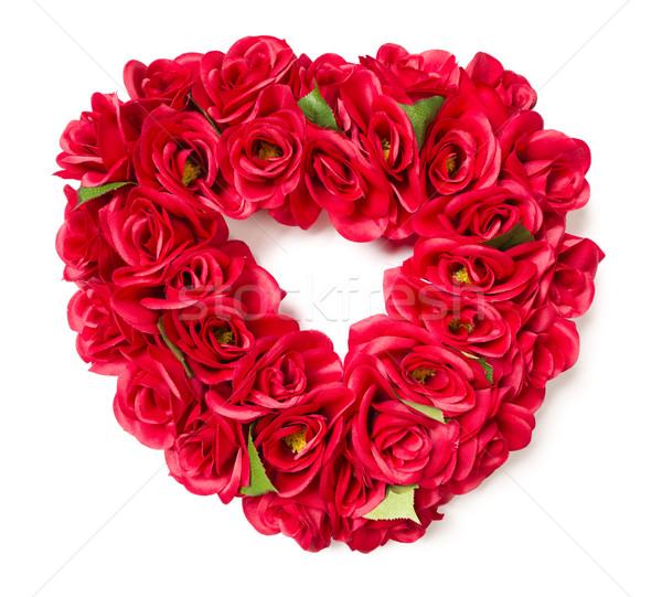中心 赤いバラ アレンジメント 白 花 ストックフォト © feverpitch