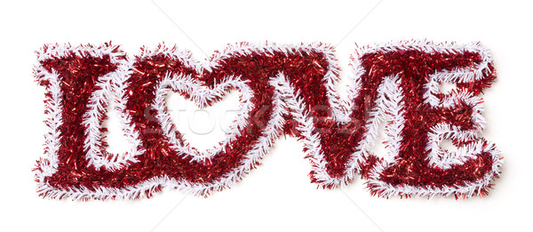 The Word Love Shaped White and Red Tinsel Stock photo © feverpitch